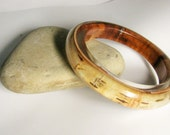 Large opening birch bark bracelet. Wood resin fashion bracelet.