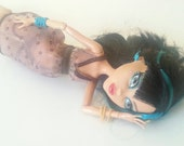 Brown Lingerie Set Handmade to Fit Monster Dolls Mesh Babydoll Slip and Thigh High Stockings with Panties