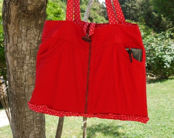 Back to school. Jeans skirt handbag, Red jeans, Red skirt handbag, free shipping, jeans recycled, shoulder bag.