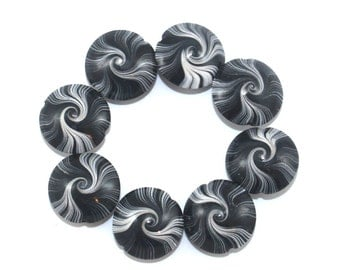 Spiral stripes focal beads, swirl lentil beads in black, white and gray, Jewelry supplies, Set of 8 Artisan clay beads