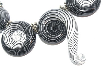 Ombre artisan clay beads for Jewelry making, color gradient spiral beads, 5 strips Ombre beads, Polymer clay beads in black, gray and white