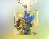 Larkspur, Alyssum, Pasture Heliotrope Real Pressed Flower Glass Square Necklace