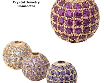Cubic Zirconia Cooper Lavender Purple clear Disco Ball Shambala Beads, Crystal Rhinestone CZ Pave Czech Bead, Gold Plated 10mm, Pack of 2pcs