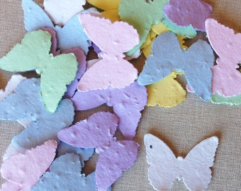 ASSORTED PASTEL - Butterfly Shaped Plantable Seed Paper Confetti, Wildflower Seed, Recycled Paper  - 100 Pack