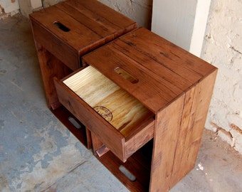 Pair of Wooden Crates/ Nightstands/ Side Tables/ Drawers/ Pallet Furniture