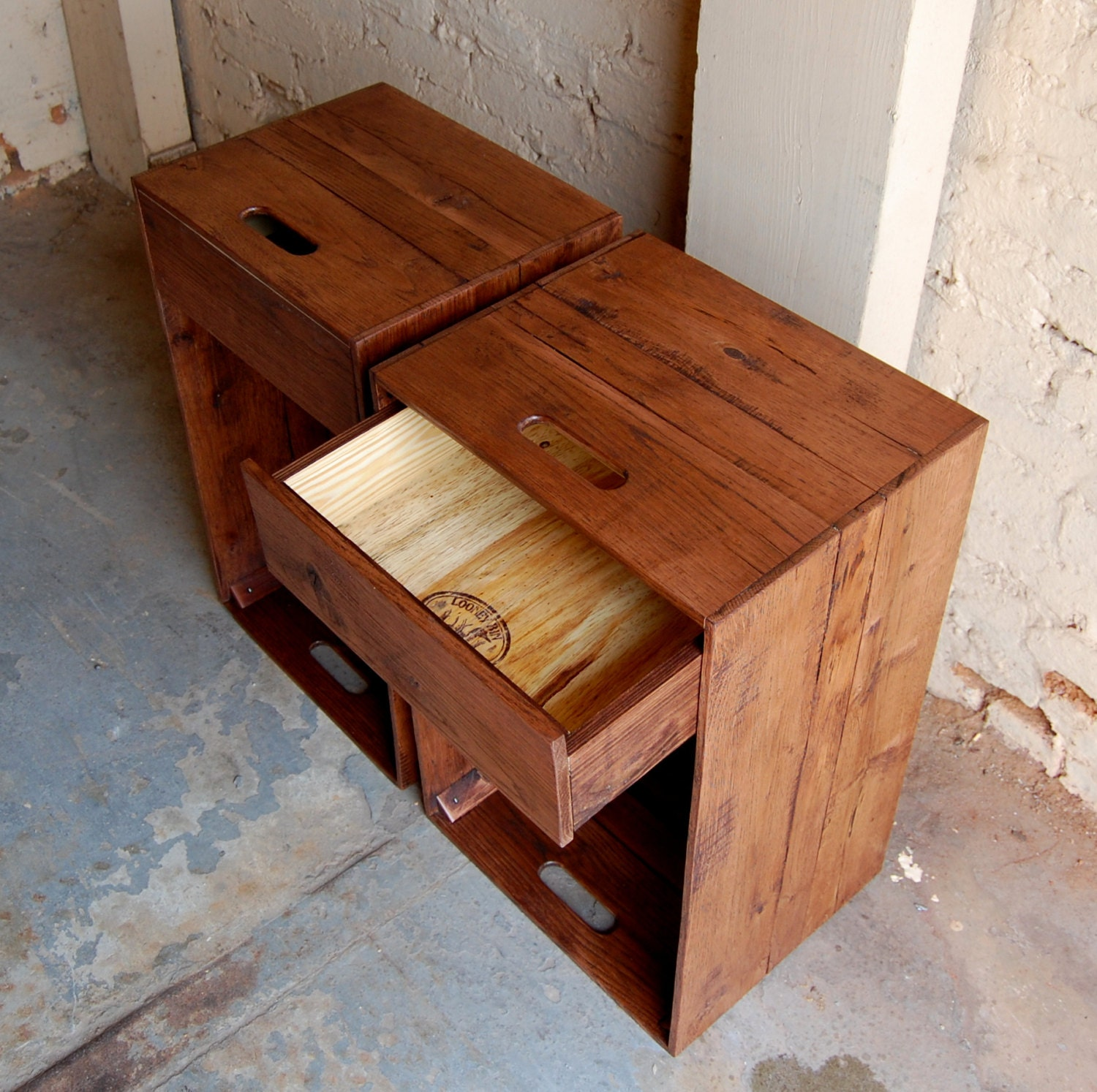 Pair of wooden crates nightstands side tables drawers