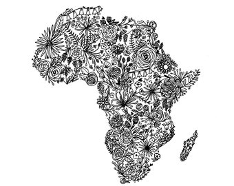 Floral Africa Map