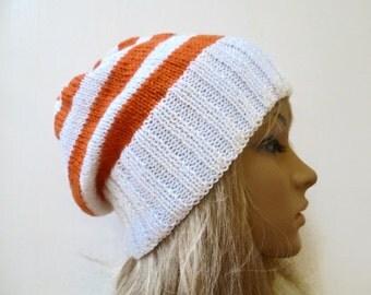 Sale Women Wool Knit Hat, Women's Slouchy Striped Pure Wool Hand Knitted Hat, Cream Orange Slouchy Hat,  Clickclackknits