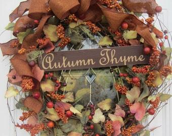 Fall Berry Wreath - Autumn Wreath - Primitive Wreath -  Door Decor - Thanksgiving Wreath - Rustic Fall Wreath - Fall Pumpkin Wreath -Decor