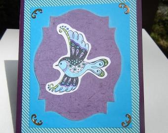 Handmade Greeting Card Blank Greeting Card for Any Occasion, Bird Design, Bluebird Card