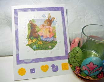 "Easter Card: Handmade Card with Bunny Rabbit Design Made Using Die Cuts and Embossing ""For Some Bunny Special"""