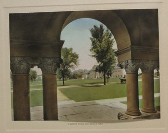 Vintage Colored Print ~ Campus from Boardman Hall ~ Cornell University Ithaca New York ~ Great for framing! ~ Lithograph