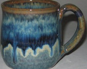 Pottery Mug, Reg 10-12 oz in Blue Lagoon, Microwave and Dishwasher-safe, Wheel-Thrown