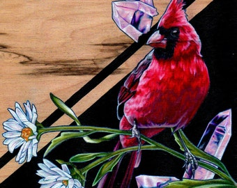 "Cardinal Bird, Aster, and Rose Quartz Fine Art Print; ""Ardour"""