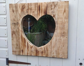 Wooden up cycled heart mirror