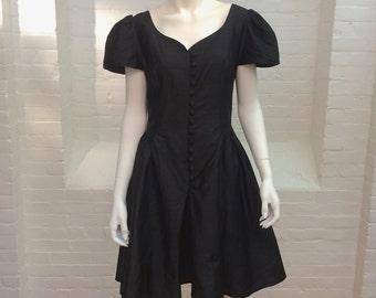 vintage Laura Ashley black dress // black silk dress // little black dress // 1980s // medium