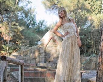 SALE Wedding Dress, Cream Wedding Dress, Lace Wedding Gown, Long  Gown, Bohemian Dress, Βοhο Wedding Dress, Strapless Gown, Handmade Gown