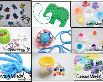 SALE - Discounted Toddler Busy Bag Bundle - 9 Different Learning Toys