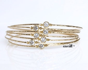 Set of BRIDESMAID Diamond Alternative Bangles / 14k Gold Delicate Bangles / Maid of Honor Gift / Bridesmaid Gift / Blush Bridal Jewelry
