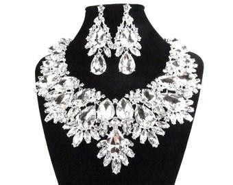 Bridal Statement Necklace, Bridal Crystal Necklace, Crystal Wedding Necklace, Crystal Evening Necklace E - 161