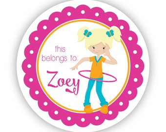 Name Label Stickers - Pink Orange Hula Hoop Playground Recess Personalized Name Label Stickers - Back to School - This Belongs To Labels