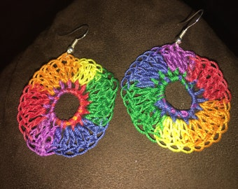 Rainbow medallion earrings