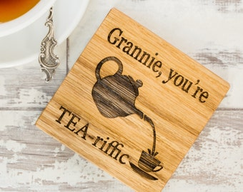 Personalised Tea Riffic Coaster - Wooden Coaster - Wood Coaster - Gifts For Mum - Personalised Coaster - Gifts For Her - Gifts For Tea Lover
