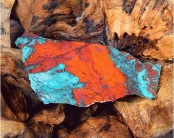 Sonoran Sunrise Cuprite Chrysocolla Slab Great Red Cabbing Slice #3467