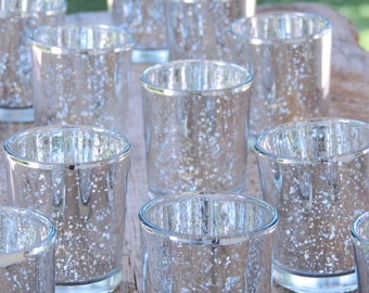 120 Silver Mercury Glass Votive Holders - Candle Holders for Weddings - Glass Votive Candle Holders - Wedding Decorations