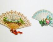 Hand Fan Scrap Stickers 1876 Scrapbook Valentine Cardmaking 2 Victorian Stickers Vintage Fan Destash Paper Ephemera Scrapbooking Planner
