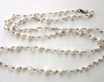 "Extra Long Necklace Faux Pearl & Faceted Lucite Beads Flapper Length 52"" Inches Metal Strung"