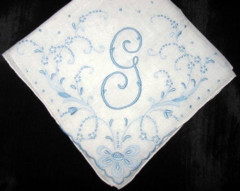 Wedding Handkerchief for Bride, Blue and White Initial R, G, J, L, or A