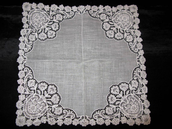 Estate Item Womens Lacy Hanky Antique Lace Handkerchief, Wedding Handkerchief, Victorian Era, Ladies Hankies,