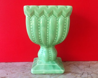 Magnificent Mid Century Modern Vase, Glossy Green Glaze, Art Pottery Vase, RARE, Inarco Pedestal Vase, Rare and Old, FREE SHIPPING
