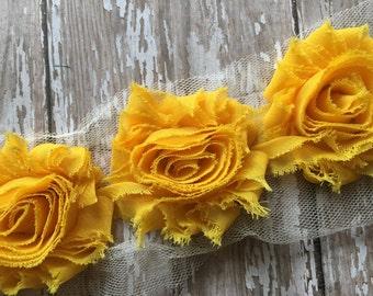 "3 pc - Marigold Yellow ** Shabby Flower Trim Chiffon Rosettes - Each flower measures 2.5"""