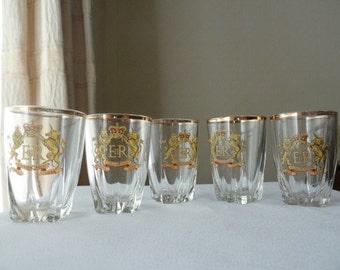 5 Elizabeth II coronation commemorative shot glasses with Royal Crest, free UK shipping