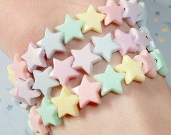 Set of 3 Mermaid Pastel Stars Fairy Kei Kandi Bracelets