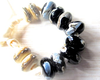 Handmade Lampwork Bead Set, Shards on Black and Silvered Ivory