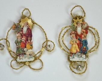German Tinsel lametta Christmas Ornament / Set Of 2 German Die Cut Scrap Ornaments