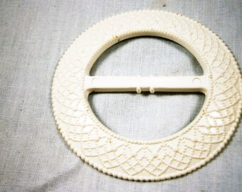 White Celluloid Round Vintage Buckle From The 1930's,  Dress Buckle, Belt Buckle