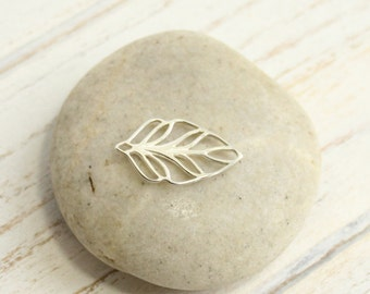 Medium Sterling Silver Leaf Charm -- One Piece