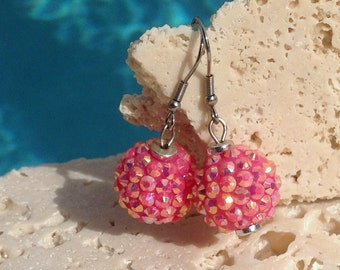 Bright pink rhinestone earrings, pink earrings, pink sparkly earrings Earring#PNK101