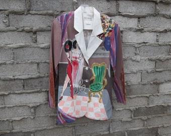 Vintage Jacket Hand Painted Art Blazer 1990s 80s Impressionist Expressionist Style Modern Art sz fits Medium Musician Performer Boho