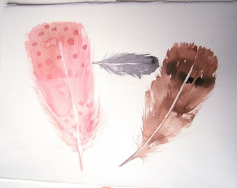 Watercolor feather painting/ Feather art/ Pink, brown and gray feather wall art/ Minimalist art/ Home and living/ Feather illustration