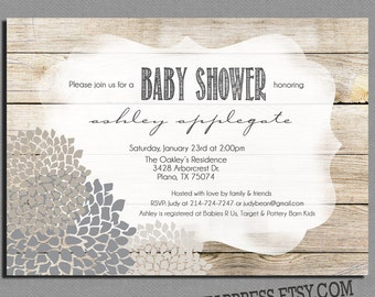 rustic gender neutral baby shower invitation neutral shower invite digital file printable