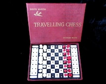 Travelling chess set, 1960s vintage games, boxed travel set, board games, House Martin, British made , car journey games