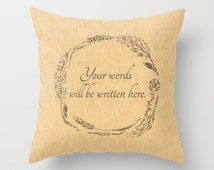 Custom Words Rustic Wreath Throw Pillow Cover, personalized pillow, custom words pillow, your words pillow, custom throw pillow
