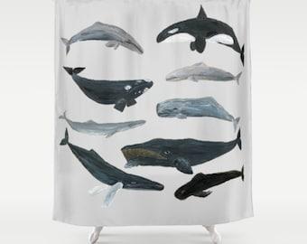 Whale Shower Curtain, whales shower curtain, nautical shower curtain, whale  bathroom, whale decor, nautical bathroom, ocean shower curtain