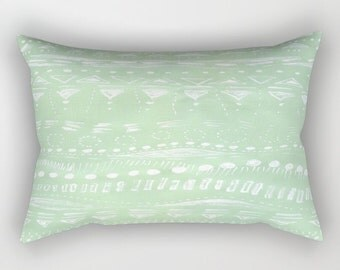 Mint Green Geometric Rectangular Throw Pillow, pastel pillow, mint pillow, mint green pillow, geometric pillow, mint lumbar pillow