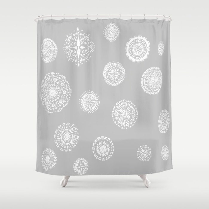 grey white lace shower curtain grey shower curtain by lake1221. Black Bedroom Furniture Sets. Home Design Ideas